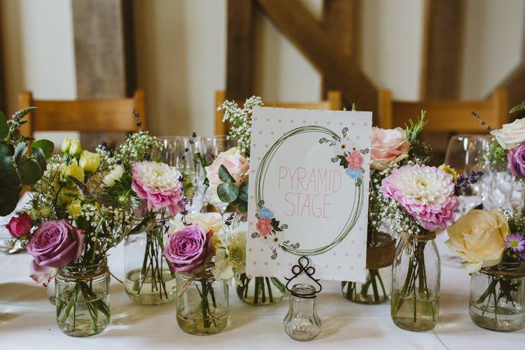 Jar Flowers Pink White Peach Table Name Stationery Pretty Festival Barn Countryside Wedding http://www.claretamim.co.uk/
