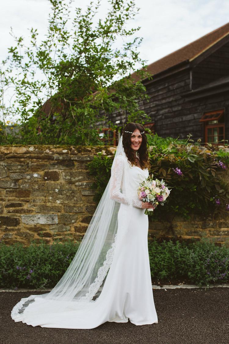 Regency Suzanne Neville Dress Gown Bride Bridal Lace Veil Sleeves Pretty Festival Barn Countryside Wedding http://www.claretamim.co.uk/