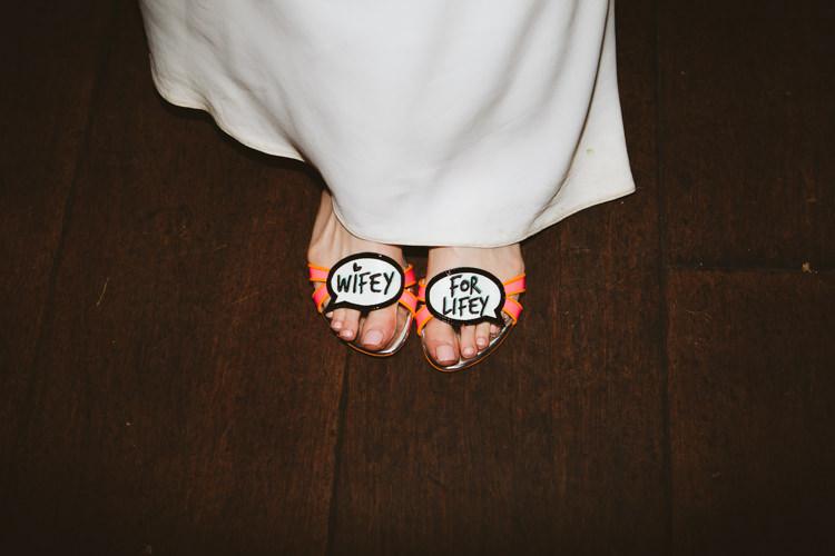 Wifey For Lifey Shoes Bride Bridal Pretty Festival Barn Countryside Wedding http://www.claretamim.co.uk/