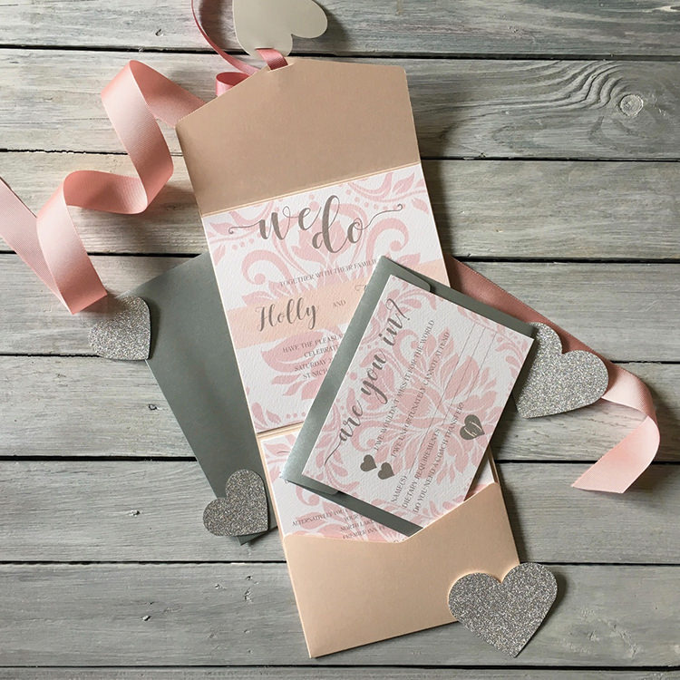 Pretty Wedding Stationery Invitations Lily and Jack's Paper Studio UK Pocket Fold