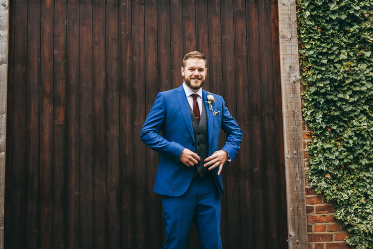 Blue Suit Grey Waistcoat Groom Relaxed Boho Barn Wedding http://www.fcphotography.co.uk/
