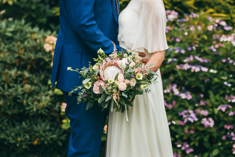 King Protea Bouquet Flowers Bride Bridal Relaxed Boho Barn Wedding http://www.fcphotography.co.uk/