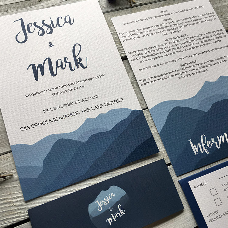Pretty Wedding Stationery Invitations Lily and Jack's Paper Studio UK Blue Mountains