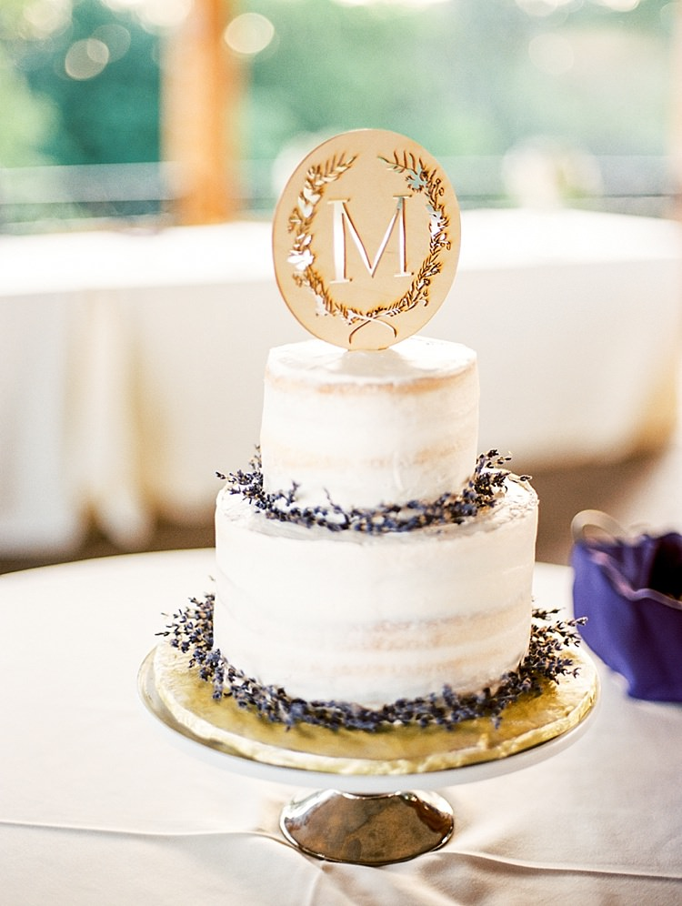 Multilayered Wedding Cake Lavender Wreaths Metallic Initial Cake Topper Gold Stand Outdoor Spring Vineyard Wedding Tennessee http://www.juicebeatsphotography.com/