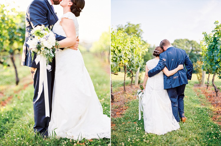 Bride Lace Cap Sleeve Bridal Gown Pearls Groom Navy Suit Purple Tie Bouquet Peonies Lavender Ribbon Sunset Vines Outdoor Spring Vineyard Wedding Tennessee http://www.juicebeatsphotography.com/