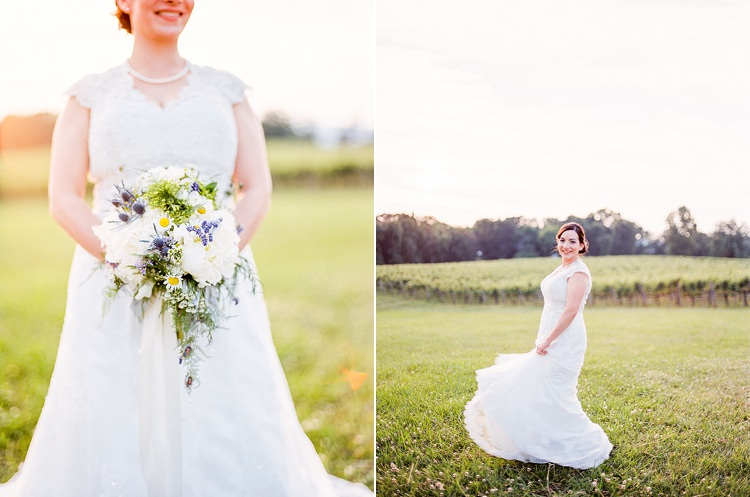 Bride Lace Cap Sleeve Bridal Gown Pearls Bouquet Peonies Lavender Ranunculus Florals Outdoor Spring Vineyard Wedding Tennessee http://www.juicebeatsphotography.com/