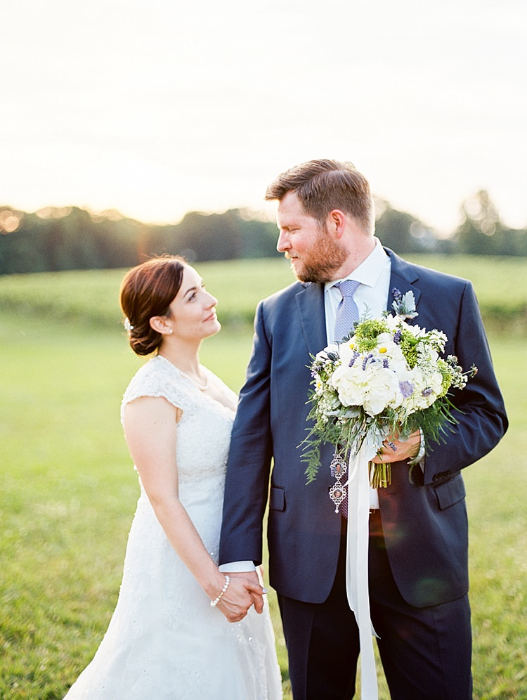 Bride Lace Cap Sleeve Bridal Gown Pearls Groom Navy Suit Purple Tie Bouquet Peonies Lavender Sunset Outdoor Spring Vineyard Wedding Tennessee http://www.juicebeatsphotography.com/