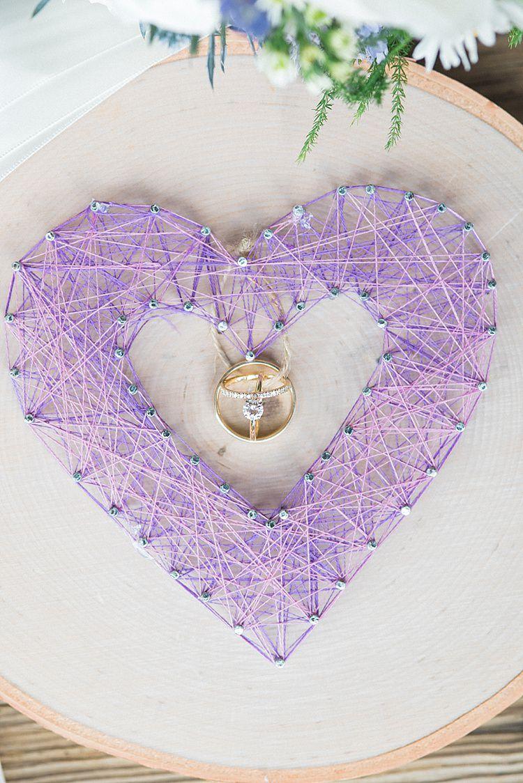 Purple Heart Handmade Yarn Craft Wedding Engagement Rings Outdoor Spring Vineyard Wedding Tennessee http://www.juicebeatsphotography.com/