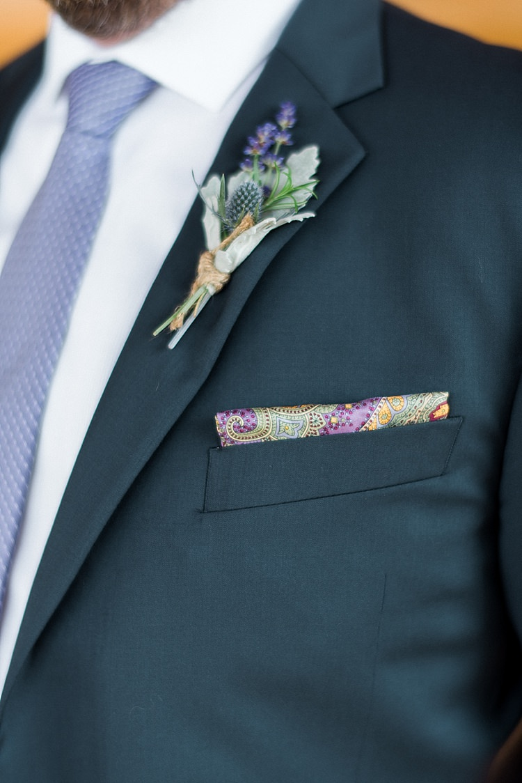 Groom Navy Suit Purple Tie Colourful Pocket Square Floral Button Hole Style Outdoor Spring Vineyard Wedding Tennessee http://www.juicebeatsphotography.com/