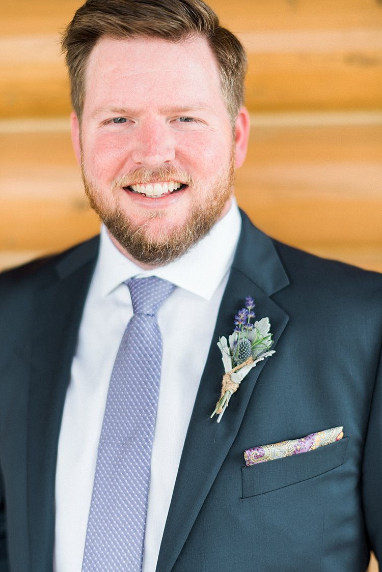 Groom Navy Suit Purple Tie Colourful Pocket Square Floral Button Hole Beard Style Outdoor Spring Vineyard Wedding Tennessee http://www.juicebeatsphotography.com/
