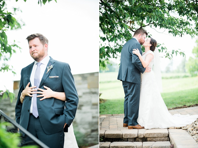 First Look Groom Navy Suit Purple Tie Floral Button Hole Bride Lace Cap Sleeve Bridal Gown Kiss Outdoor Spring Vineyard Wedding Tennessee http://www.juicebeatsphotography.com/