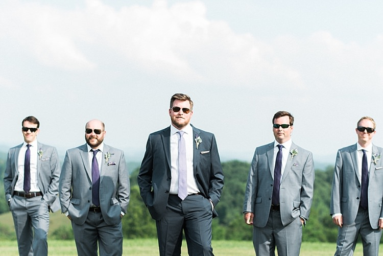 Groom Navy Suit Purple Tie Colourful Pocket Square Floral Button Hole Groomsmen Grey Suits Purple Ties Sunglasses Outdoor Spring Vineyard Wedding Tennessee http://www.juicebeatsphotography.com/