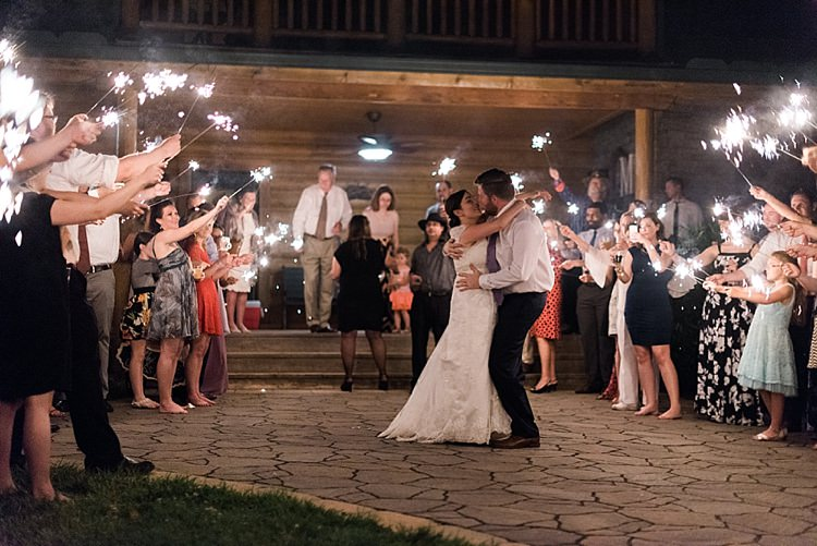 Sparkler Exit Bride Lace Cap Sleeve Bridal Gown Groom Purple Tie Kiss Guests Outdoor Spring Vineyard Wedding Tennessee http://www.juicebeatsphotography.com/