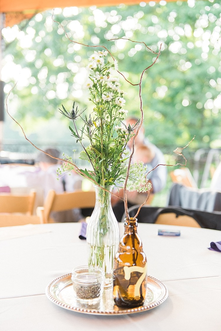Reception Table Setting Centrepiece Glass Vase Fresh Florals Brown Bottle Table Number Candle Gold Plate Outdoor Spring Vineyard Wedding Tennessee http://www.juicebeatsphotography.com/