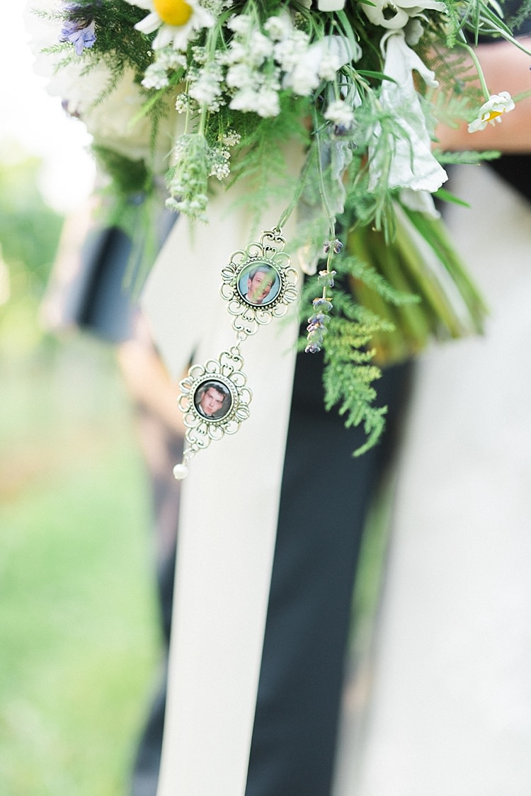 Bridal Bouquet Peonies Daises Lavender White Ribbon Silver Photo Lockets Outdoor Spring Vineyard Wedding Tennessee http://www.juicebeatsphotography.com/
