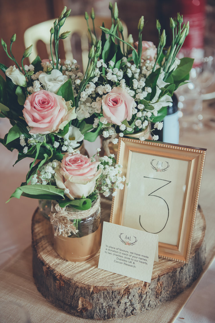 Log Flowers Decor Centrepiece Table Number Frame Jars Bespoke Rustic Homespun Wedding