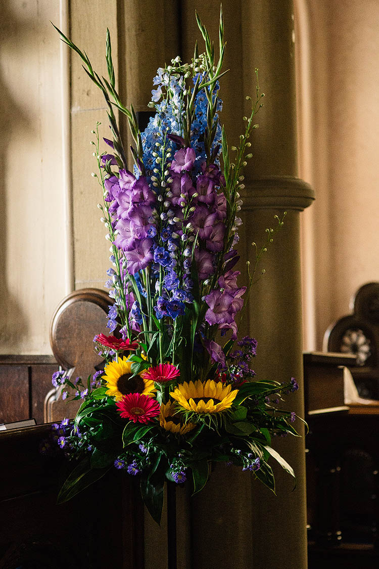 Flowers Church Tall Sunflowers Fun Multicoloured Party Wedding http://www.pauljosephphotography.co.uk/