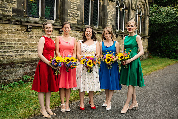 Rainbow Bridesmaids Dresses Fun Multicoloured Party Wedding http://www.pauljosephphotography.co.uk/