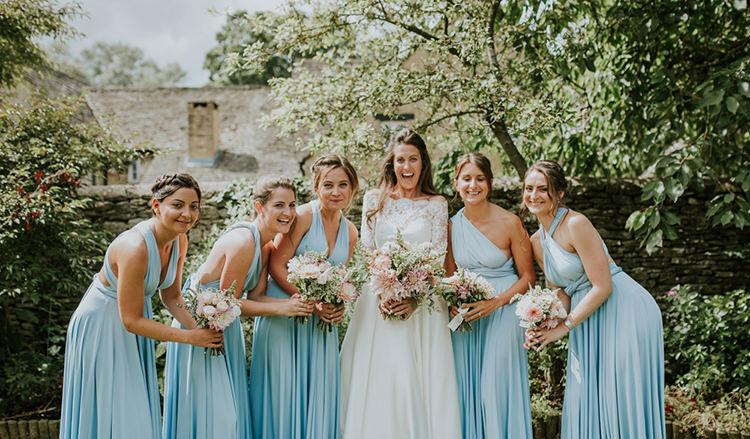Long Blue Multi Way Bridesmaid Dresses Beautiful Classic English Countryside Wedding http://jenmarino.com/
