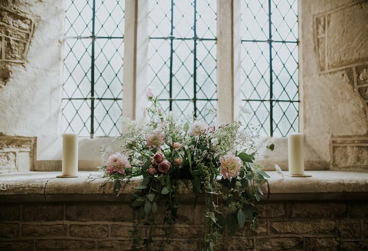 Church Flowers Pink Foliage Beautiful Classic English Countryside Wedding http://jenmarino.com/