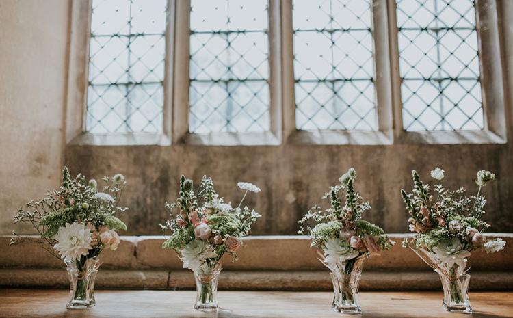 Church Flowers Vases Pink Summer Beautiful Classic English Countryside Wedding http://jenmarino.com/