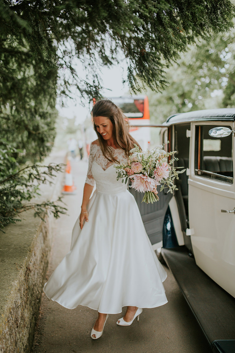 Short Tea Length Dress Bride Bridal Lace Sleeves Beautiful Classic English Countryside Wedding http://jenmarino.com/