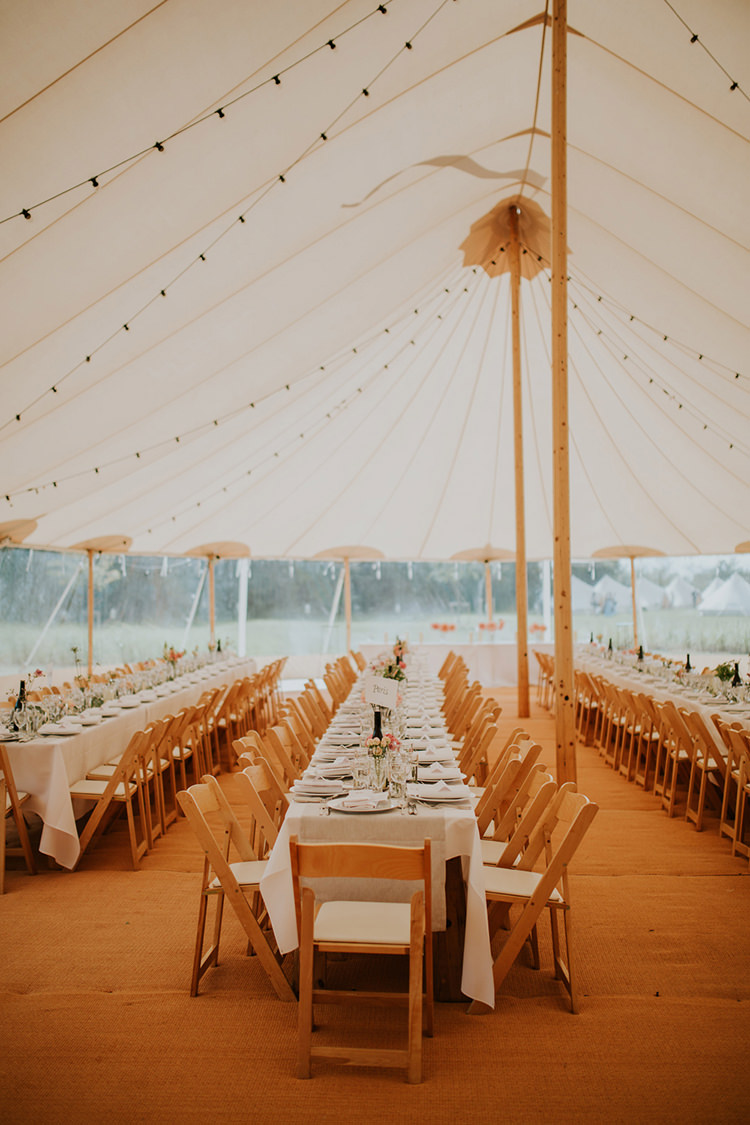 Pole Tent Marquee Festoon Lights Long Tables Beautiful Classic English Countryside Wedding http://jenmarino.com/