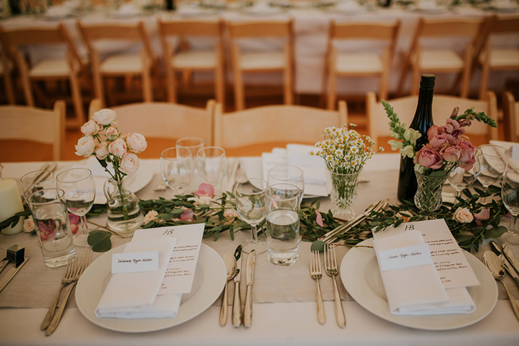 Table Flowers Garland Runner Pink Greenery Decor Beautiful Classic English Countryside Wedding http://jenmarino.com/