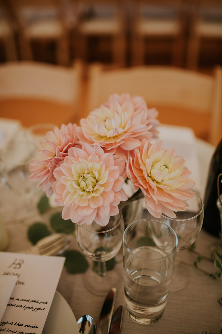 Pink Dahlia Vase Flowers Centrepiece Table Decor Beautiful Classic English Countryside Wedding http://jenmarino.com/