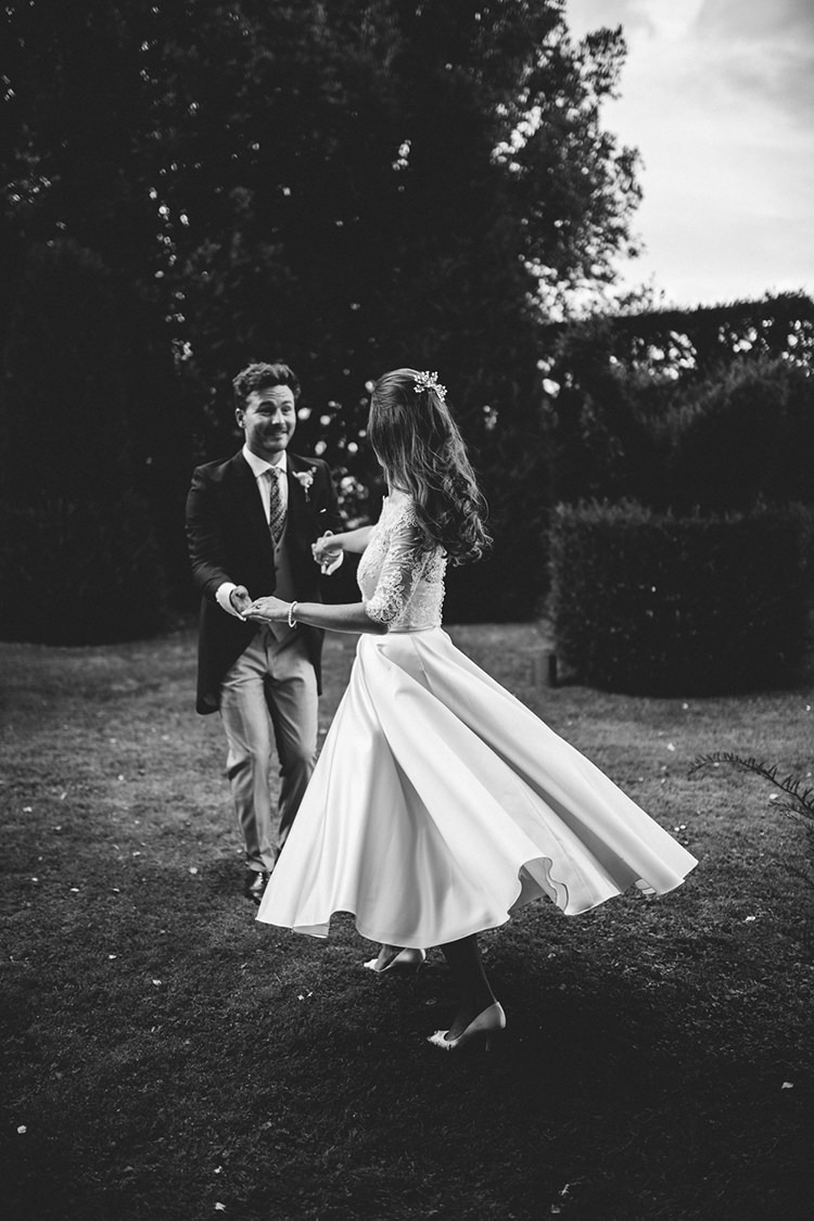 Short Dress Bride Bridal Lace Sleeves Gown Beautiful Classic English Countryside Wedding http://jenmarino.com/