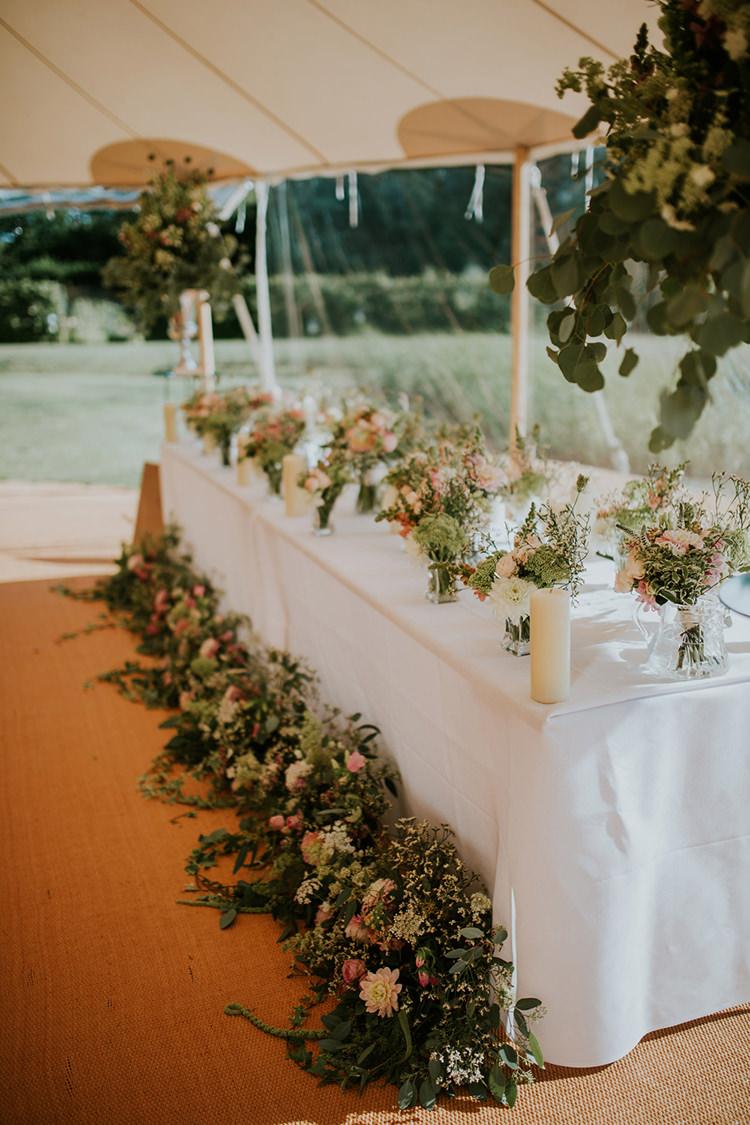Flowers Top Table Swag Vases Pink Decor Foliage Greenery Beautiful Classic English Countryside Wedding http://jenmarino.com/