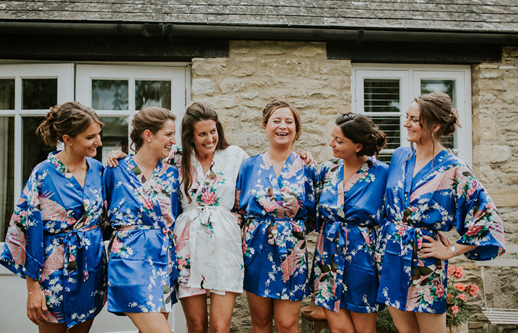 Floral Silk Dressing Gowns Bride Bridesmaids Beautiful Classic English Countryside Wedding http://jenmarino.com/