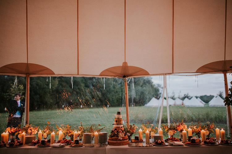 Cake Table Candles Flowers Decor Beautiful Classic English Countryside Wedding http://jenmarino.com/