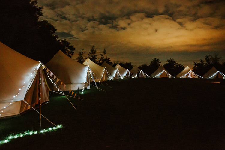 Glamping Bell Tend Fairy Lights Camping Beautiful Classic English Countryside Wedding http://jenmarino.com/