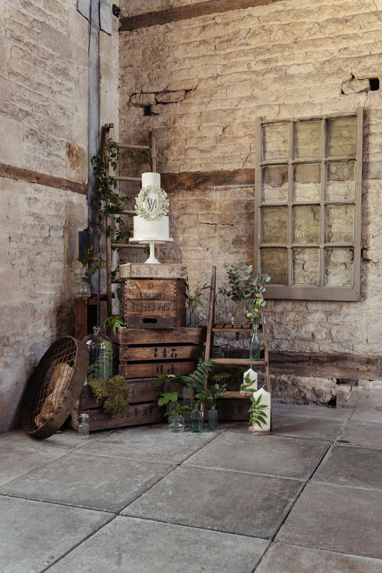 Cake Table Crates Wooden Decor Organic Foliage Rustic Wedding Ideas http://www.sarahvivienne.co.uk/