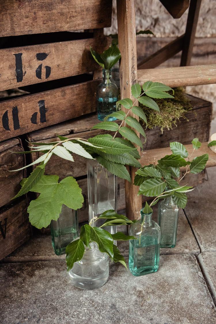 Bottles Greenery Organic Foliage Rustic Wedding Ideas http://www.sarahvivienne.co.uk/