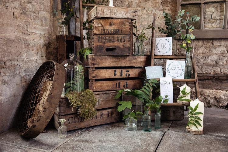 Wooden Crates Ladder Decor Organic Foliage Rustic Wedding Ideas http://www.sarahvivienne.co.uk/