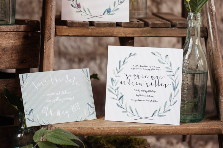 Wreath Stationery Invitations Organic Foliage Rustic Wedding Ideas http://www.sarahvivienne.co.uk/