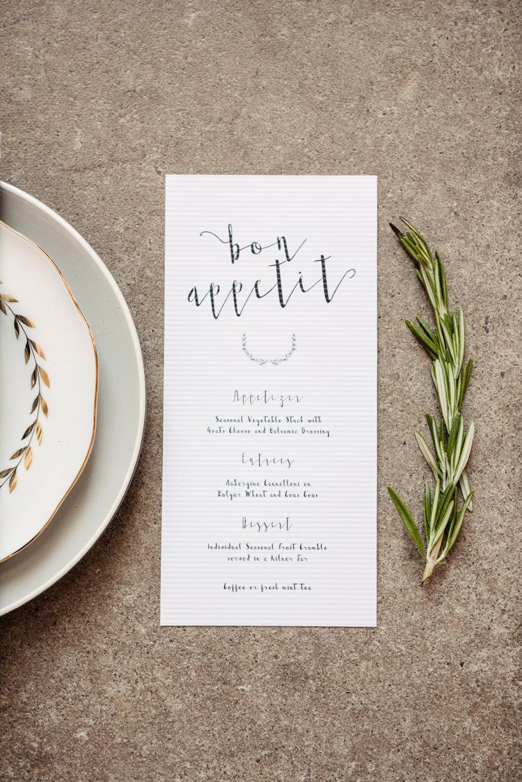 Calligraphy Menu Stationery Organic Foliage Rustic Wedding Ideas http://www.sarahvivienne.co.uk/
