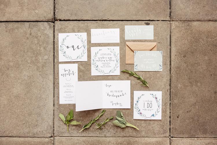 Stationery Invitations Organic Foliage Rustic Wedding Ideas http://www.sarahvivienne.co.uk/