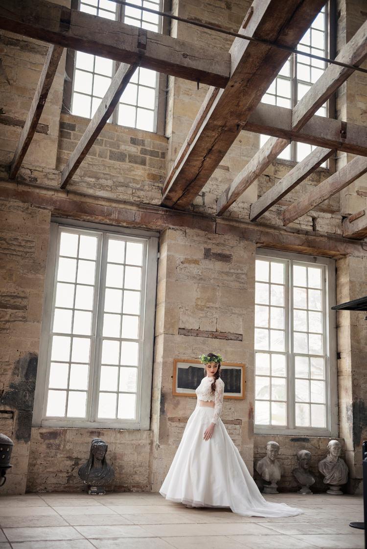 Bridal Dress Separates Gown Bride Organic Foliage Rustic Wedding Ideas http://www.sarahvivienne.co.uk/