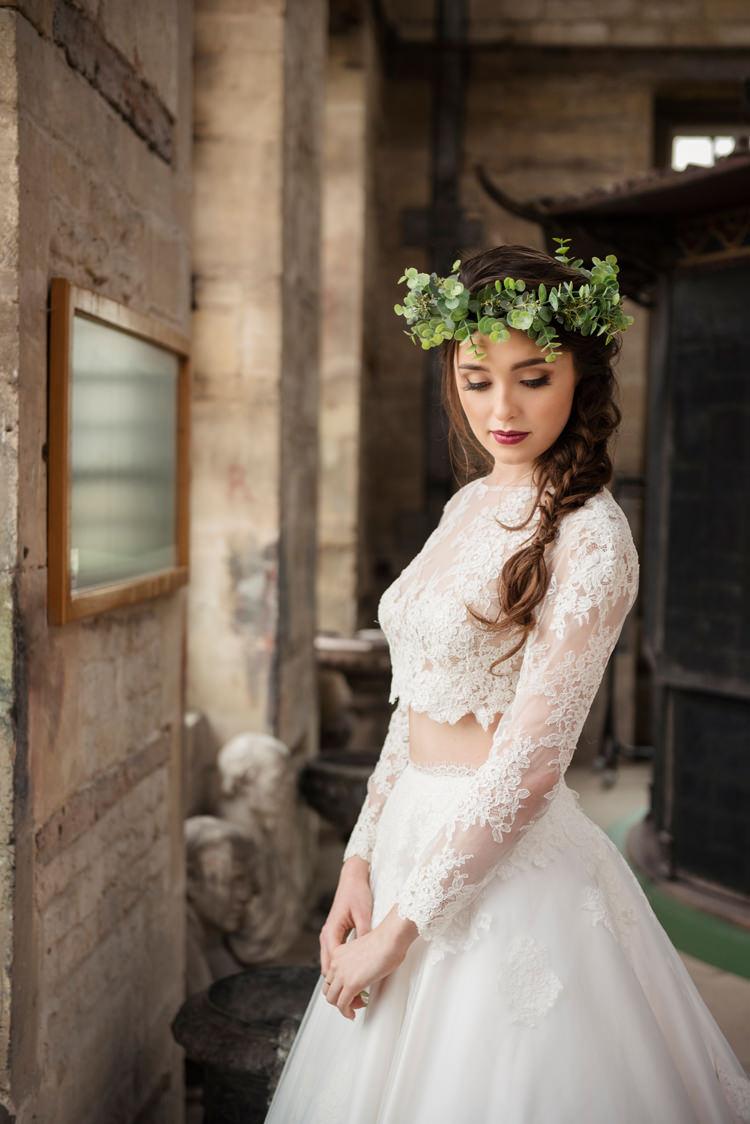 Separates Bridal Bride Dress Skirt Top Gown Organic Foliage Rustic Wedding Ideas http://www.sarahvivienne.co.uk/