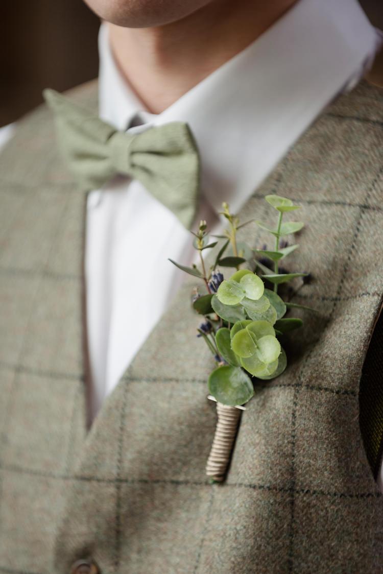 Greenery Buttonhole Groom Organic Foliage Rustic Wedding Ideas http://www.sarahvivienne.co.uk/