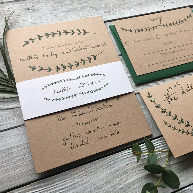 Pretty Wedding Stationery Invitations Lily and Jack's Paper Studio UK Pine Forest Woodland Brown Kraft