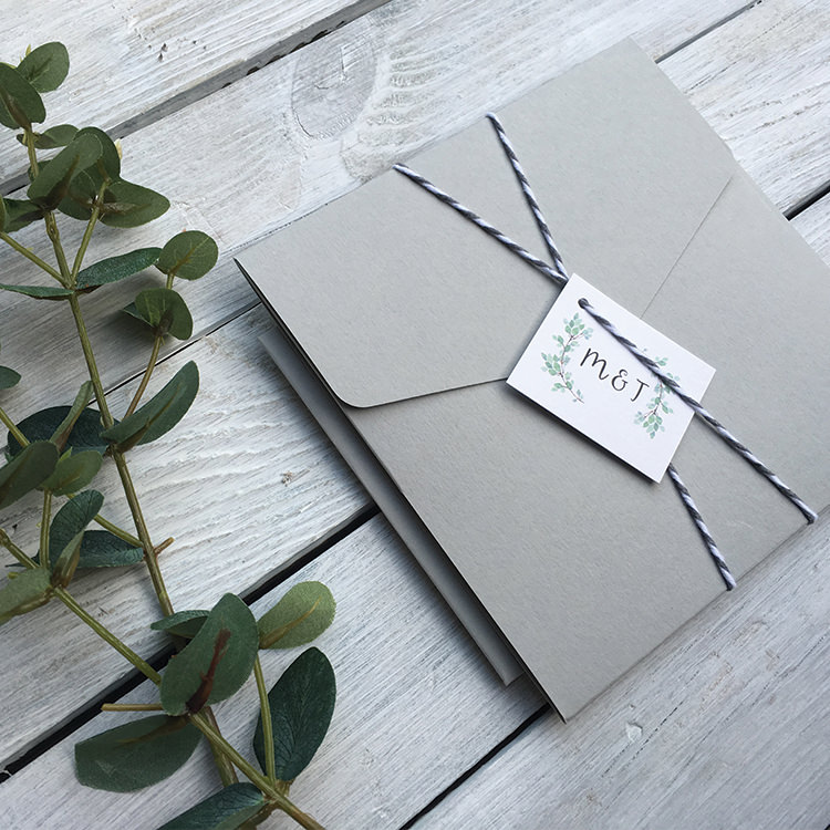 Pretty Wedding Stationery Invitations Lily and Jack's Paper Studio UK Grey Pocketfold Twine