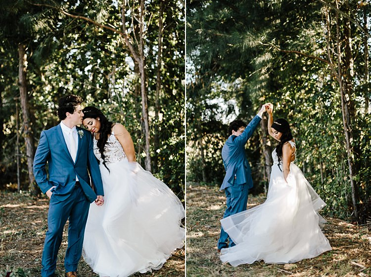 Bride Ivory Lace Tulle Haley Paige Bridal Gown Loose Braid Groom Navy Blue Suit Ivory Tie Whimsical Boho Outdoor Wedding Alabama http://belightphotography.com/