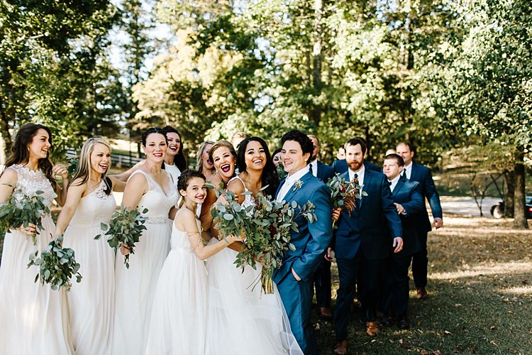Bridal Party Bride Ivory Lace Tulle Bridal Gown Fresh Wild Floral Eucalyptus Bouquet Groom Navy Blue Suit Bridesmaids Ivory Dresses Groomsmen Navy Suits Whimsical Boho Outdoor Wedding Alabama http://belightphotography.com/