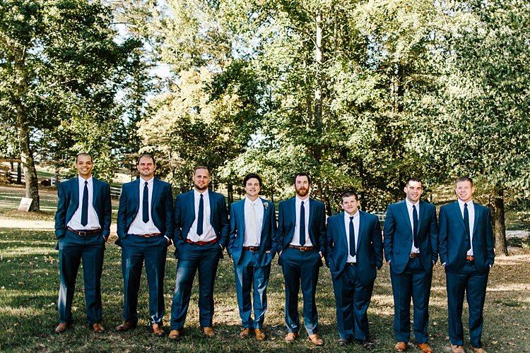 Groom Navy Blue Suit Ivory Tie Groomsmen Navy Suits Navy Ties Tan Shoes Whimsical Boho Outdoor Wedding Alabama http://belightphotography.com/