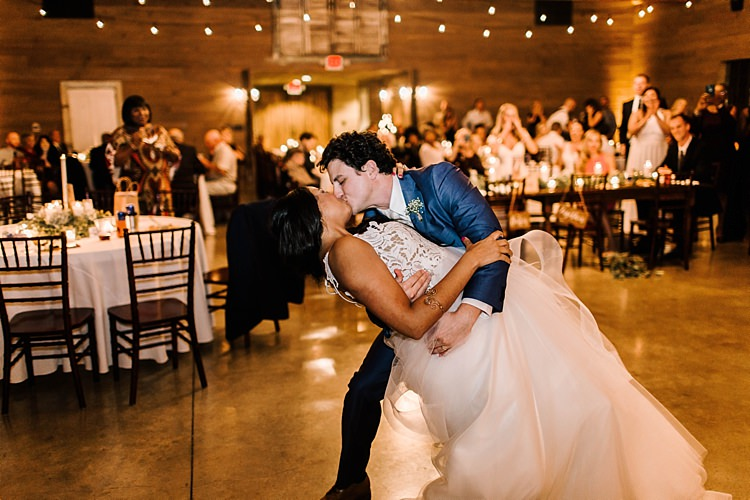 Reception Dancing Bride Ivory Lace Tulle Haley Paige Bridal Gown Loose Braid Groom Navy Blue Suit Ivory Tie Guests Fairy Lights Whimsical Boho Outdoor Wedding Alabama http://belightphotography.com/