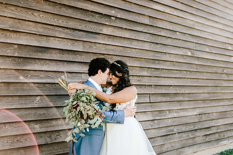 Bride Ivory Lace Tulle Haley Paige Bridal Gown Loose Braid Fresh Wild Floral Eucalyptus Bouquet Groom Navy Blue Suit Ivory Tie Whimsical Boho Outdoor Wedding Alabama http://belightphotography.com/